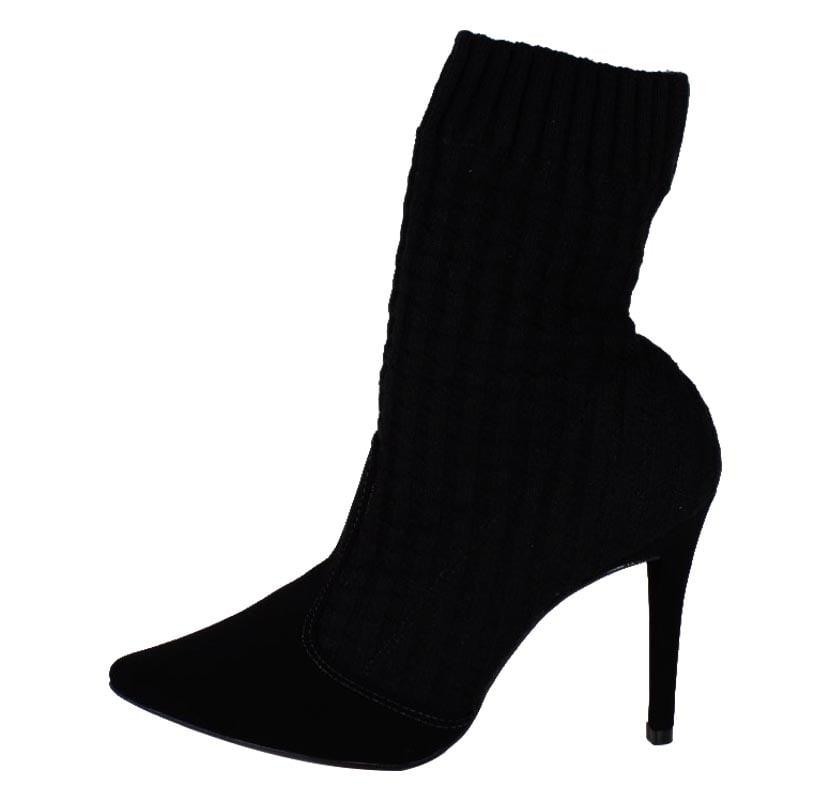 Ankle Boot  Socks Boot Bota Meia Preto