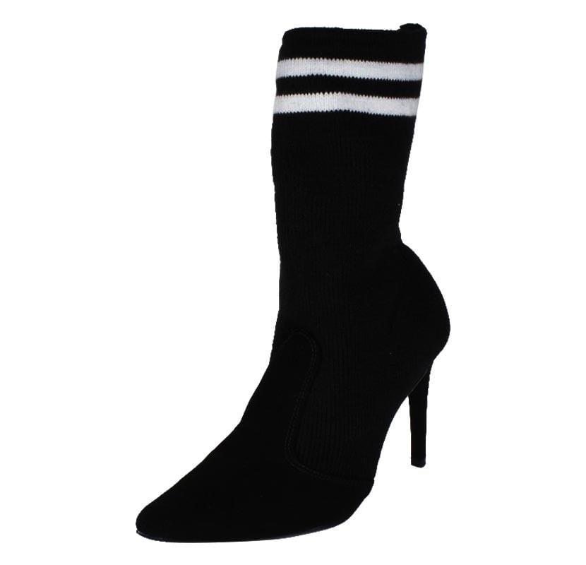 Socks Boot Bota Meia Preto Listra Branca