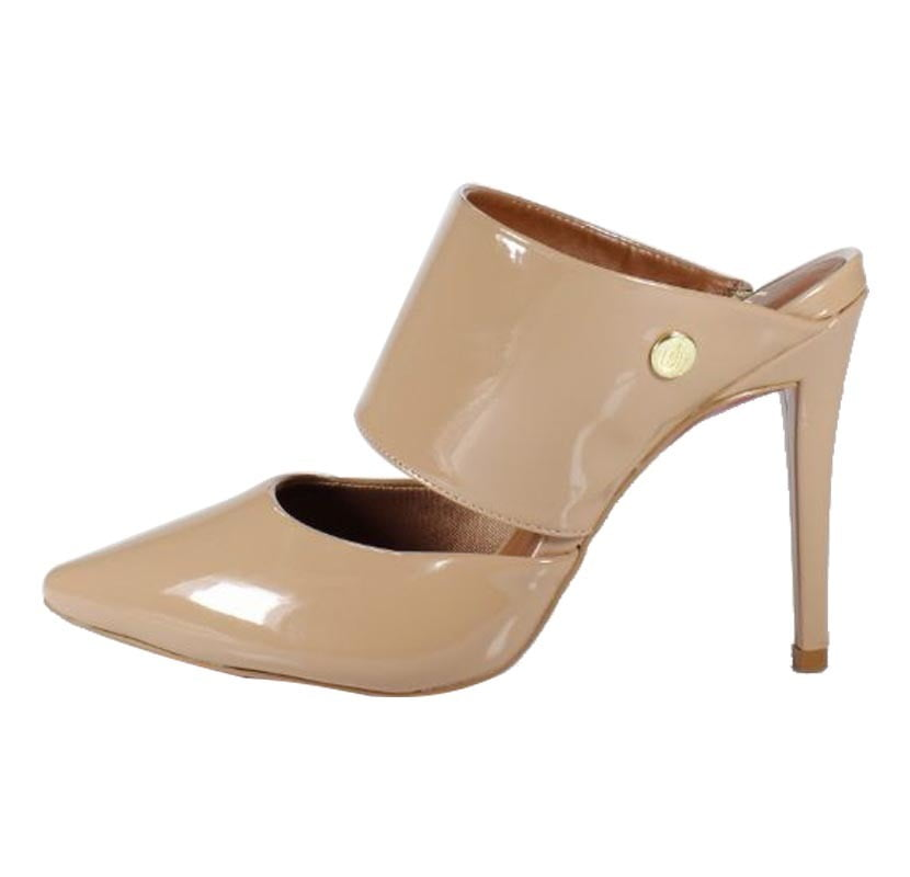Mule Week Shoes Salto Alto Envernizado Nude