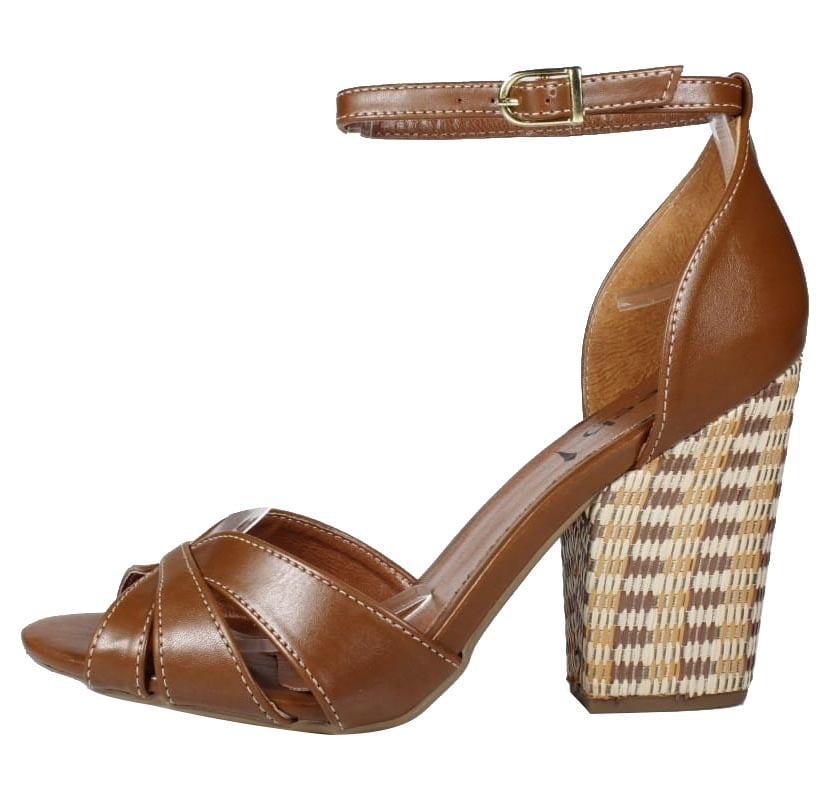 sandália salto bloco marrom