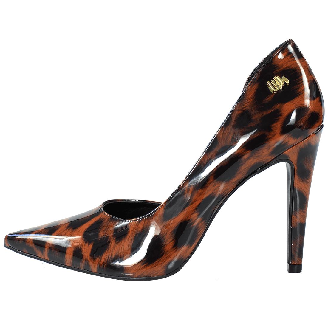 Scarpin Salto Alto Corte Lateral Verniz Animal Print Leopardo