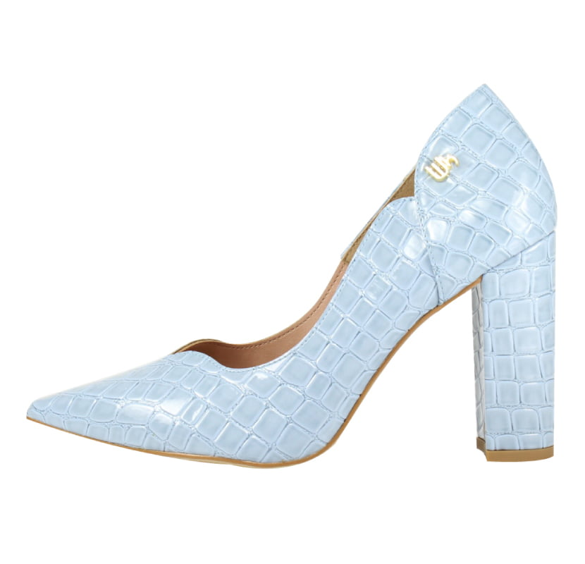 Scarpin Salto Grosso Week Shoes Curvas Verniz Croco Azul