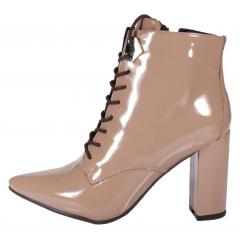 Bota Ankle Boot Week Shoes Cadarço Salto Grosso Verniz Nude