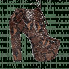 Ankle Boot Salto 15 Animal Print Serpente Marron Cano Curto
