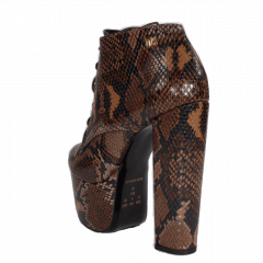 Ankle Boot Salto 15 Animal Print Serpente Marron Cano Curto