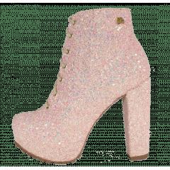 Ankle Boot Salto Grosso Glitter Furtacor Cadarço Rosé