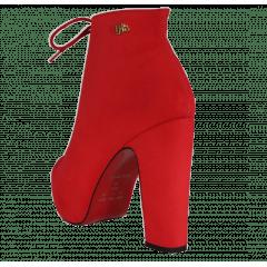 Ankle Boot Salto Grosso Nobuck Cadarço Vermelho