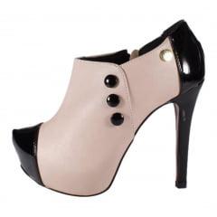 Ankle shoes Salto Alto Rosê e Verniz Preto