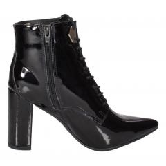 Bota Ankle Boot Week Shoes Cadarço Salto Grosso Verniz Preto
