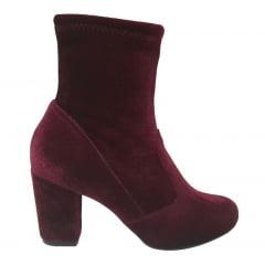 Bota Sock Boot Salto Baixo Veludo Vinho