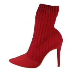 Ankle Boot Socks Boot Bota Meia Vermelho