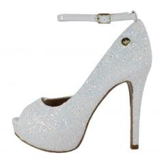 Peep Toe Meia pata Glitter Furtacor Branco com Corte Lateral