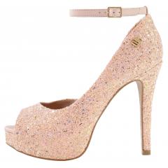 Peep Toe Meia pata Glitter Furtacor Rosé com Corte Lateral