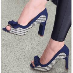 Peep Toe Laço Salto Reto Listrado Azul