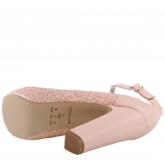 Peep Toe Meia Pata Glitter Furtacor Rosé