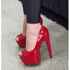 Peep toe meia pata salto alto 15  vermelho