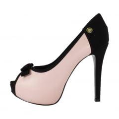 Peep toe salto alto com laço rosa  preto