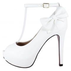Peep Toe Week Shoes Branco Salto Fino Com Tornozeleira