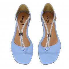 Sandália Rasteira Azul Azurre Tiras Com Strass