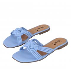 Sandália Rasteira Geométrica Azul Azurre