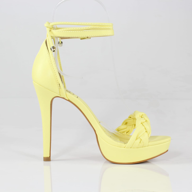 Sandália Meia Pata Salto Alto Fluffy Amarelo