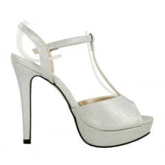 Sandália Salto Fino Glitter Prata
