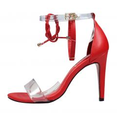 Sandália Minimalista Vinil 3 Tiras Vermelha