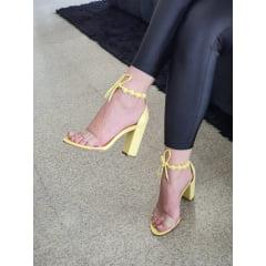 Sandália Salto Alto Minimalista Bolinhas Amarelo
