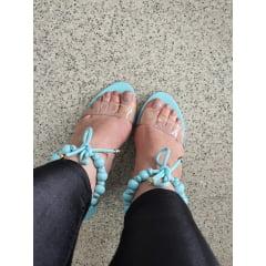 Sandália Salto Alto Minimalista Bolinhas Azul Dalia