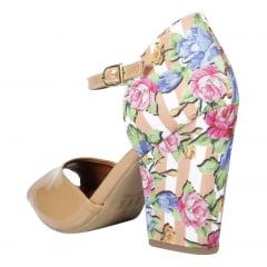 sandália salto bloco nude (salto floral)