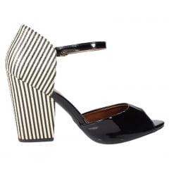 sandália salto bloco preto
