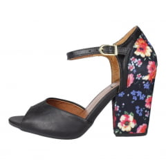 sandália salto bloco preto (salto floral)