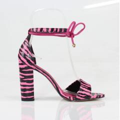 Sandália Salto Grosso Animal Print Pink