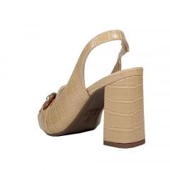 Sandália Salto Grosso Médio Bico Fechado Croco Nude