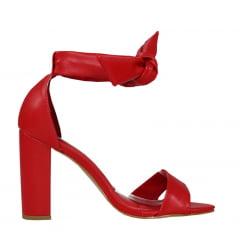 Sandália Salto Grosso Médio De Amarrar Vermelho