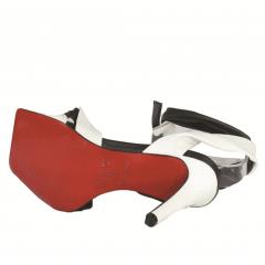 Sandália Salto Alto Bico Quadrado de Amarrar Preto e Branco