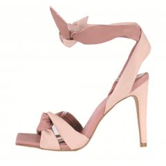 Sandália Salto Alto Bico Quadrado de Amarrar Rosé