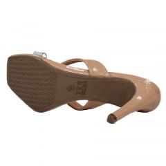 Sandália Tamanco Salto Médio Verniz Nude