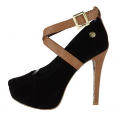 Scarpin meia pata salto alto com fivela preto marrom