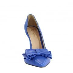 Scarpin Salto Alto Corte Lateral Com Laço Azul Escuro
