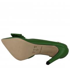 Scarpin Salto Alto Corte Lateral Com Laço Verde Oliva