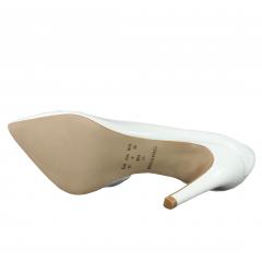 Scarpin Salto Alto Corte Lateral Verniz Croco Branco