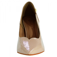 Scarpin Salto Grosso Week Shoes Curvas Verniz Croco Nude Amendoa